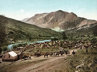 Ranch - An 1898 photochrom of a round-up in or near the town of Cimarron, Colorado.