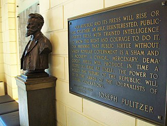 Columbia University Graduate School of Journalism - A Joseph Pulitzer bust and plaque in the Columbia Journalism School lobby