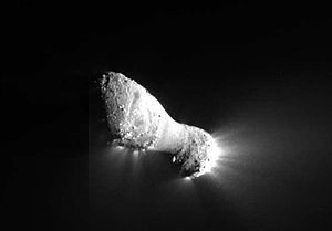 EPOXI - The nucleus of comet 103P/Hartley measuring approximately 2 kilometers  in length and .4 kilometers at its most narrow portion or neck. Jets can be seen streaming out of the nucleus.