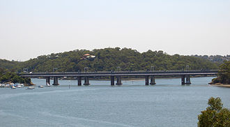 Eastern Suburbs & Illawarra Line - The old and new Como bridges over the Georges River, facing east. The newer bridge is in the foreground