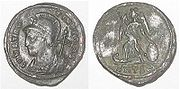 Coin struck by Constantine I to commemorate the founding of Constantinople.