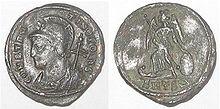 Moneta di Costantino I, coniata per celebrare la nuova capitale.