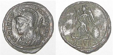 Coin struck by Constantine I to commemorate the founding of Constantinople. Constantinopolis coin.jpg