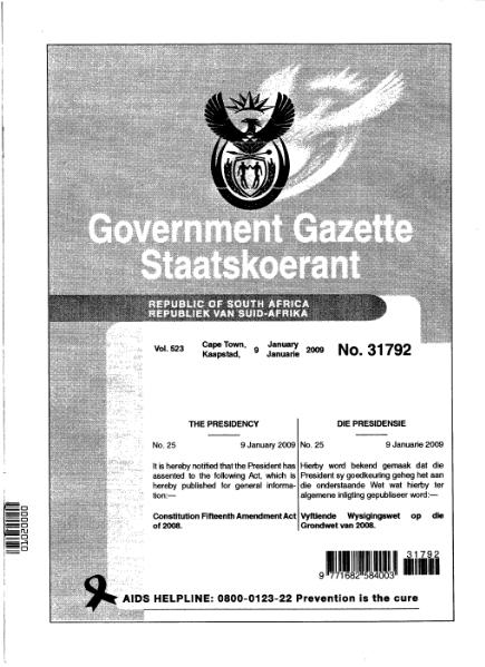 File:Constitution Fifteenth Amendment Act of 2008 from Government Gazette.djvu