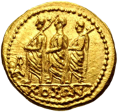 Roman consul accompanied by two lictors