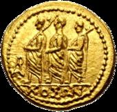 Romia konsulo akompanite fare de du liktoroj