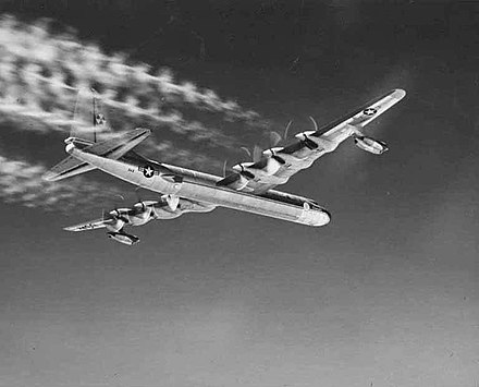 An underside view of the aircraft Convair NB-36H airplane, the first aircraft to fly with an operating atomic reactor aboard.jpg