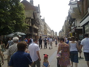 Cornmarket Street - Cornmarket Street seen from the north (Broad Street) end, 2009, with Tom Tower, Christ Church, in the far background