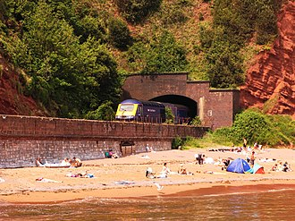Exeter–Plymouth line - By the sea at Coryton Cove