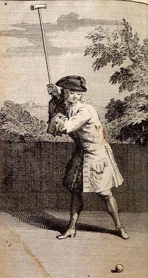 Jeu de mail - An illustration from Joseph Lauthier's Nouvelles Règles pour le Jeu de Mail (1717)