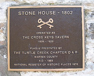 Crossed Keys Tavern - National Register of Historic Places plaque mounted on front of building