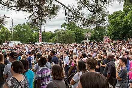Black Lives Matter protest in response to the Philando Castile shooting in July 2016 Crowd at JJ Hill - Philando Castile (27547111053).jpg