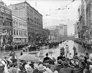 Portage and Main - King George VI and Queen Elizabeth are greeted by crowds at Portage and Main, 1939 (view looking north)