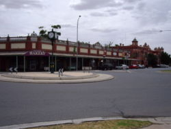The town of Culcairn in the eastern Riverina.  Many of the buildings in the central shopping area in Culcairn are heritage listed.
