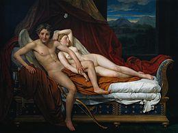 Amore e Psiche (David) durante uno dei loro incontri notturni, raffigurati da Jacques-Louis David