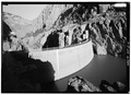 Dam from west side of Canyon - Buffalo Bill Dam, Shoshone River Canyon, Cody, Park County, WY HAER WYO,15-CODY,1-4.tif