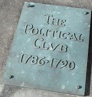 Danville Political Club - A plaque commemorating the meetings of the Danville Political Club is fixed near the replica of Grayson's Tavern in Constitution Square State Historic Site.