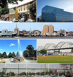 Top row: Village of East Davenport, Figge Art Museum; Second row: Downtown Davenport, Third row: Fountain in Vander Veer Botanical Park, baseball in Modern Woodmen Park; Bottom row: Davenport Skybridge.