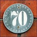 "Decorative ""70"" house number plaque (Lincoln, England).jpg"