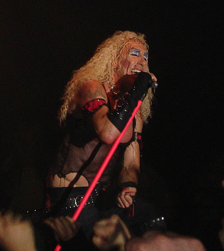 Snider performing in Manchester, England, in his iconic stage makeover. Dee Snider on stage.jpg