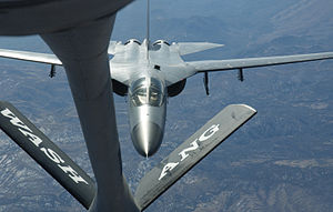 Exercise Red Flag - A Royal Australian Air Force F-111 bomber approaching a Washington Air National Guard KC-135 tanker during Red Flag 06-1 (2006)