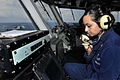Defense.gov News Photo 110806-N-EE987-182 - Petty Officer 2nd Class Natalia Grijalva mans a primary flight control system during flight operations aboard the aircraft carrier USS Ronald.jpg