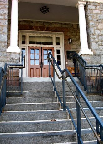 Mount St. Mary's University - Entrance to the Delaplaine Fine Arts Center.
