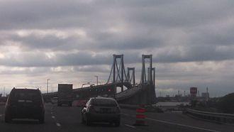 Delaware Memorial Bridge - An atmospheric setting as the Delaware Memorial Bridge is approached from the Delaware side, 2017.