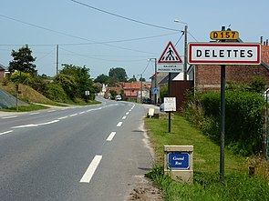 Delettes (Pas-de-Calais) city limit sign Delettes.JPG