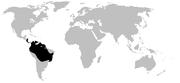 Distribution of Dendrobatidae (in black)
