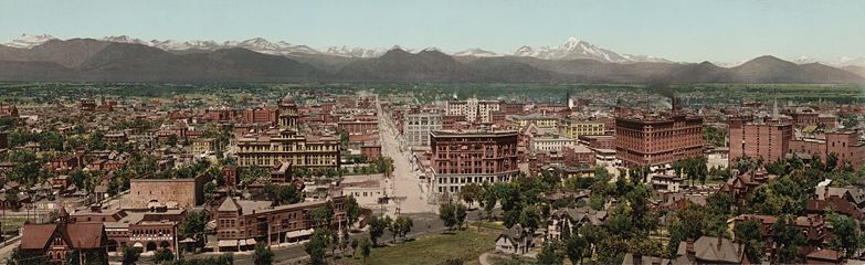 Panorama of Denver circa 1898. Image is facing northwest, looking down 16th St. with the old Arapahoe County courthouse on the left