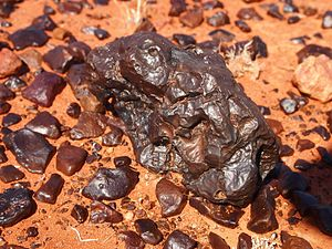Desert varnish - Desert varnish on gibber, Central Australia