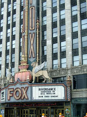 Fox Theatres - Griffins atop the marquee in Detroit.