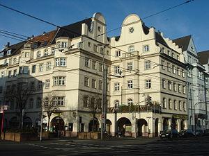 Deutz, Cologne - Deutzer Freiheit with Riphahn Building.