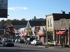 Northwest Arkansas - Partial view of Fayetteville's locally famous Dickson Street.