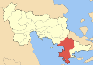 Locator map of Kranidiou municipality (Δήμος Κ...