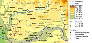 Dinkelberg - Dinkelberg between Wiese valley in the northwest and north, the Wehra valley in the east and the Rhine valley in the south and southwest
