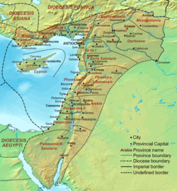Geophysical map of the Levant showing the late Roman provinces and major cities