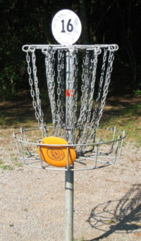 Disc golf in basket.JPG