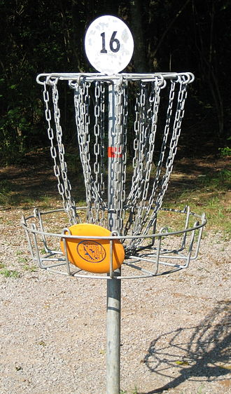 Disc golf - A disc resting in the basket