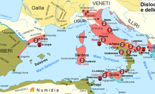 a colour map of the Iberian peninsula showing the areas controlled by Rome and Carthage.
