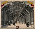 Divinity School, Oxford; interior of hall with coat of arms. Wellcome V0014104.jpg