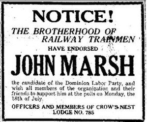 Dominion Labor Party (Alberta) - An Advertisement showing an endorsement for Lethbridge candidate John Marsh