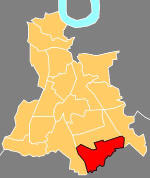 Downham - The ward of Downham (red) shown within the London Borough of Lewisham (yellow)