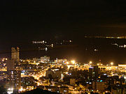 Modern view across Haifa Bay from Mt. Carmel as seen at night