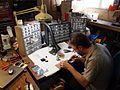 Dr. Bleep making a MeeBlip 8 - Dr. Bleep's garage workshop - MeeBlip build session, Austin, TX, 2010-10-17.jpg