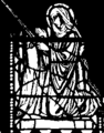 Drawing of a window in Church of St Gabriel, Brynmill, Swansea depicting Saint Tydfil.png
