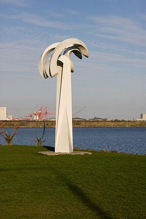 Sandymount Strand - An Cailín Bán / Awaiting the Mariner sculpture on Sandymount Strand.