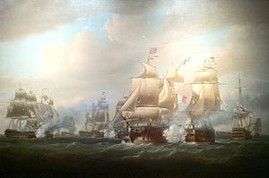 Sir John Duckworth, 1st Baronet - Duckworth's Action off San Domingo, 6 February 1806 by Nicholas Pocock (1808). Duckworth's flagship, the 74-gun Superb, is shown firing at the French flagship, the 120-gun Imperial.