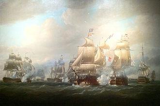 HMS Agamemnon (1781) - Image: Duckworth's action off San Domingo, 6 February 1806, Nicholas Pocock
